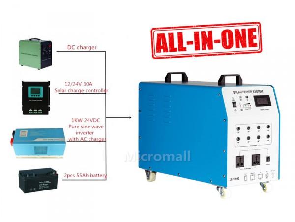 1000w 12v/230v Portable Solar Generator, Backup Power System
