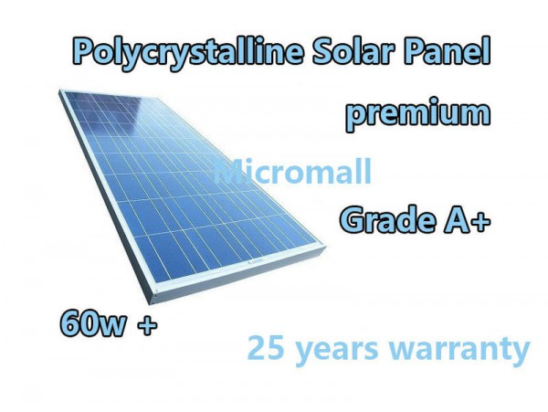 premium grade A+ 60W 12V/21.3V Polycrystalline Solar Panel charger