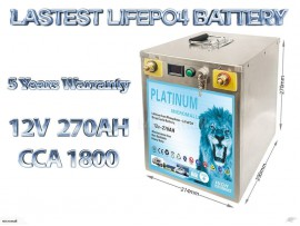 12v 270ah lifepo4 battery deep cycle solar and start battery