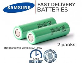 2pcs genuine Samsung 18650 25R 2500mAh 3.7V 20A Rechargeable Lithium Battery