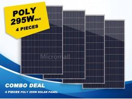 4 Pcs Premium Grade A+ 280W/295W 12V/24V/31.5V Polycrystalline Solar Panel 1160W