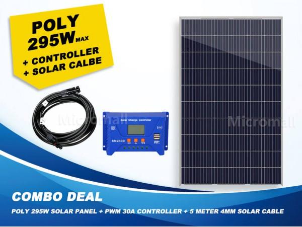 Premium 280/295W 12v/24v/31.5v Polycrystalline Solar Panel + Controller + Cable