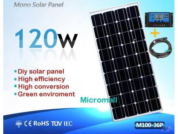 Premium grade A+ 100W 120W 12V to 18V Mono crystalline Solar Panel controller