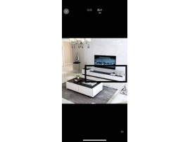 High Quality Gloss White Coffee Table Black Glass