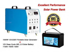 1000w 12v/230v Portable Solar Generator + 12V Deep Cycle GEL Battery