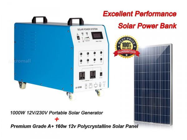 1000w 12v/230v Portable Solar Generator + 160w 12v Poly Solar Panel