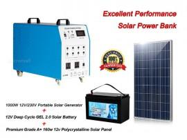 1000w 12v/230v Portable Solar Generator + Solar Panel + Solar Battery