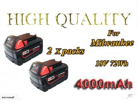 2 X replacem milwaukee M18 4AH red lithium battery