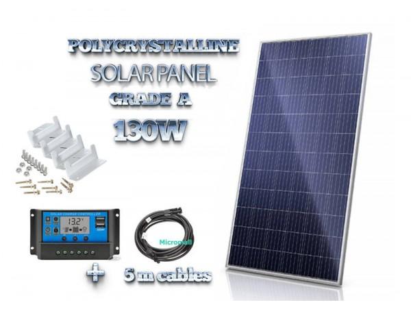 Premium grade A+ 100W 130W 12V/21.8V Polycrystalline Solar Panel PWM Controller