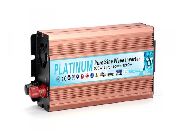 Pure Sine Wave Power Inverter 1200W DC USB 12V-230V Converter Overload Protectio