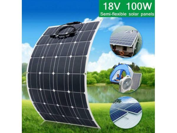 12v/18V 100W flexible Monocrystalline Outdoor Solar Panel 12v battery