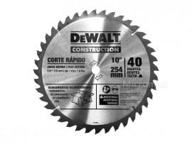 """DEWALT Construction 10"""" 254mm Circular Saw Blade 40 Teeth - Fast Cutting"""