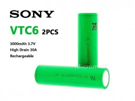 2x SONY 18650 VTC6 Lithium Battery 3000mAh 3.7V High Drain 30A Rechargeable